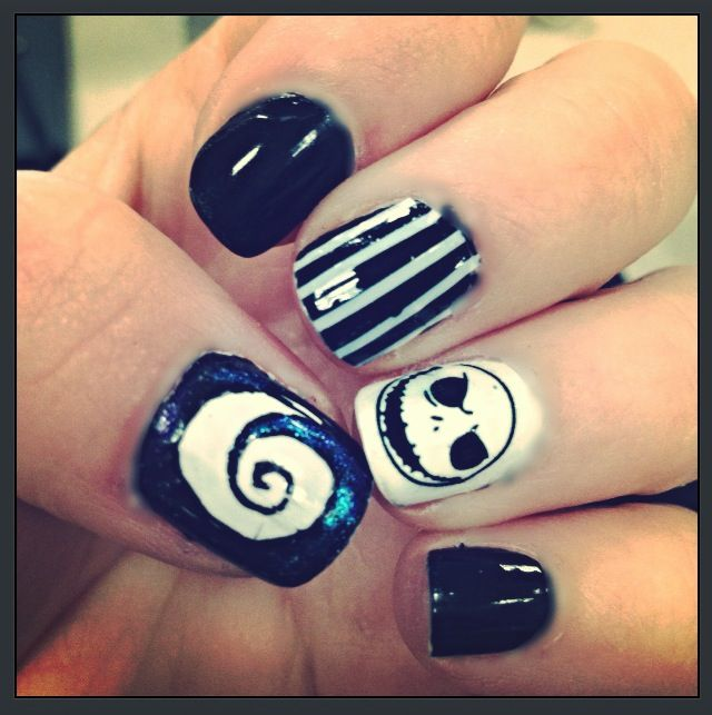 Jack Skellington nails | Fun with nail polish | Pinterest | Jack ...