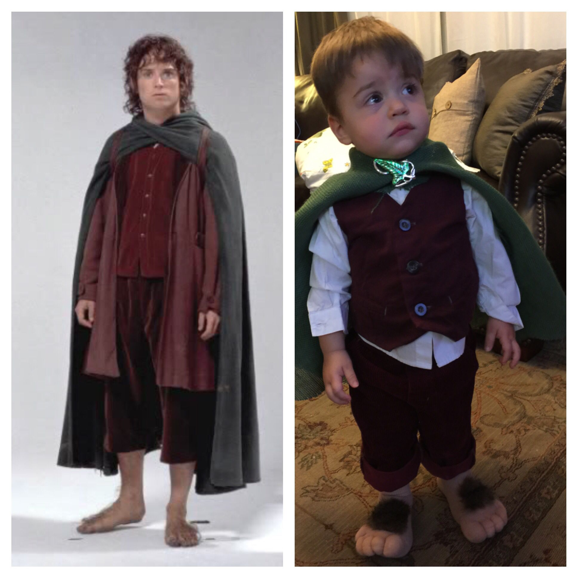 DIY Frodo toddler Halloween costume. Lord of the Rings has