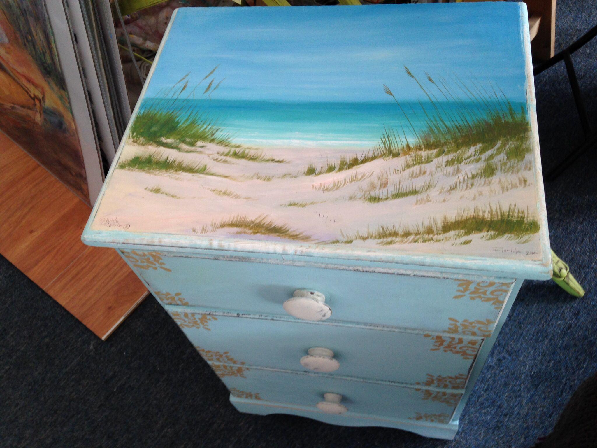 Hand painted furniture by Gabriela Valencia Florida Seascape