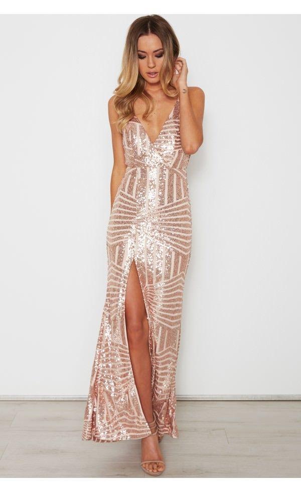 Come Closer Maxi Dress Rose Gold - Dresses - Clothing