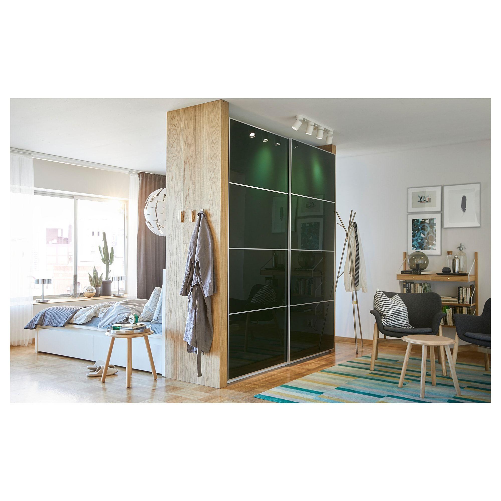 PAX Wardrobe white Hokksund, high gloss dark green in