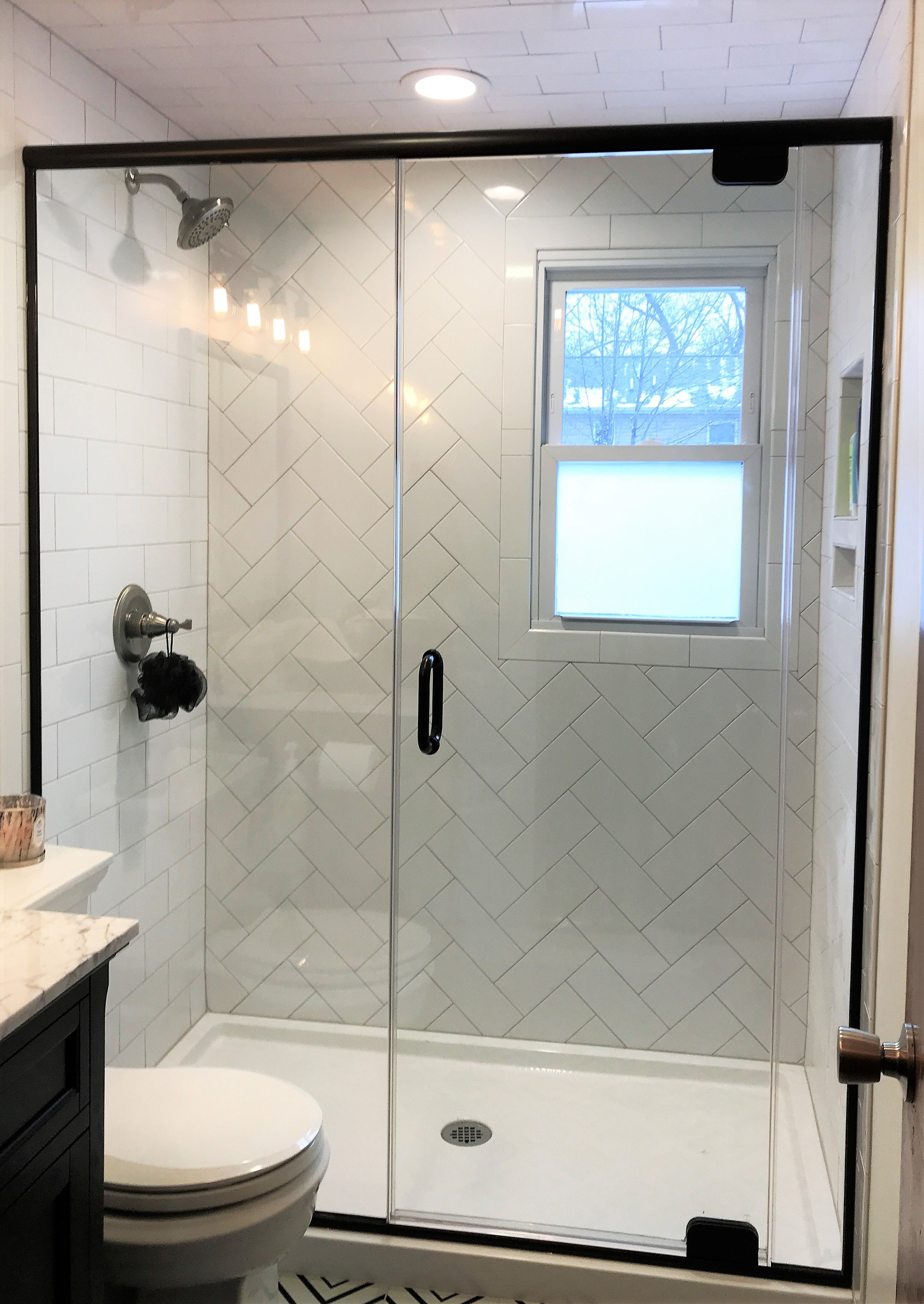 Frameless Enclosure With Hardware In A Oil Rubbed Bronze Finish Header On This Model Provides Addition Shower Doors Bathroom Remodel Shower Bronze Shower Door