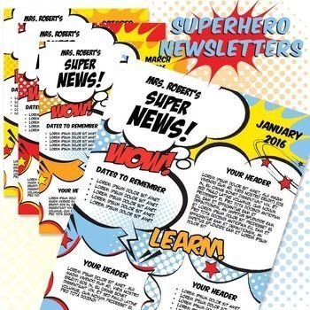Classroom Newsletter Template - Superhero Newsletter MS Word - school newsletter templates