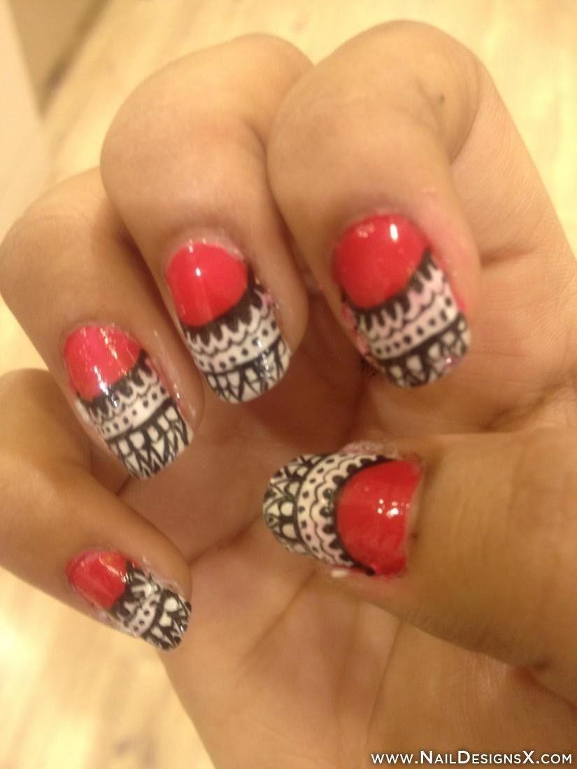 Hot Pink Nail Art Nail Designs Nail Art Colorful Nail Designs