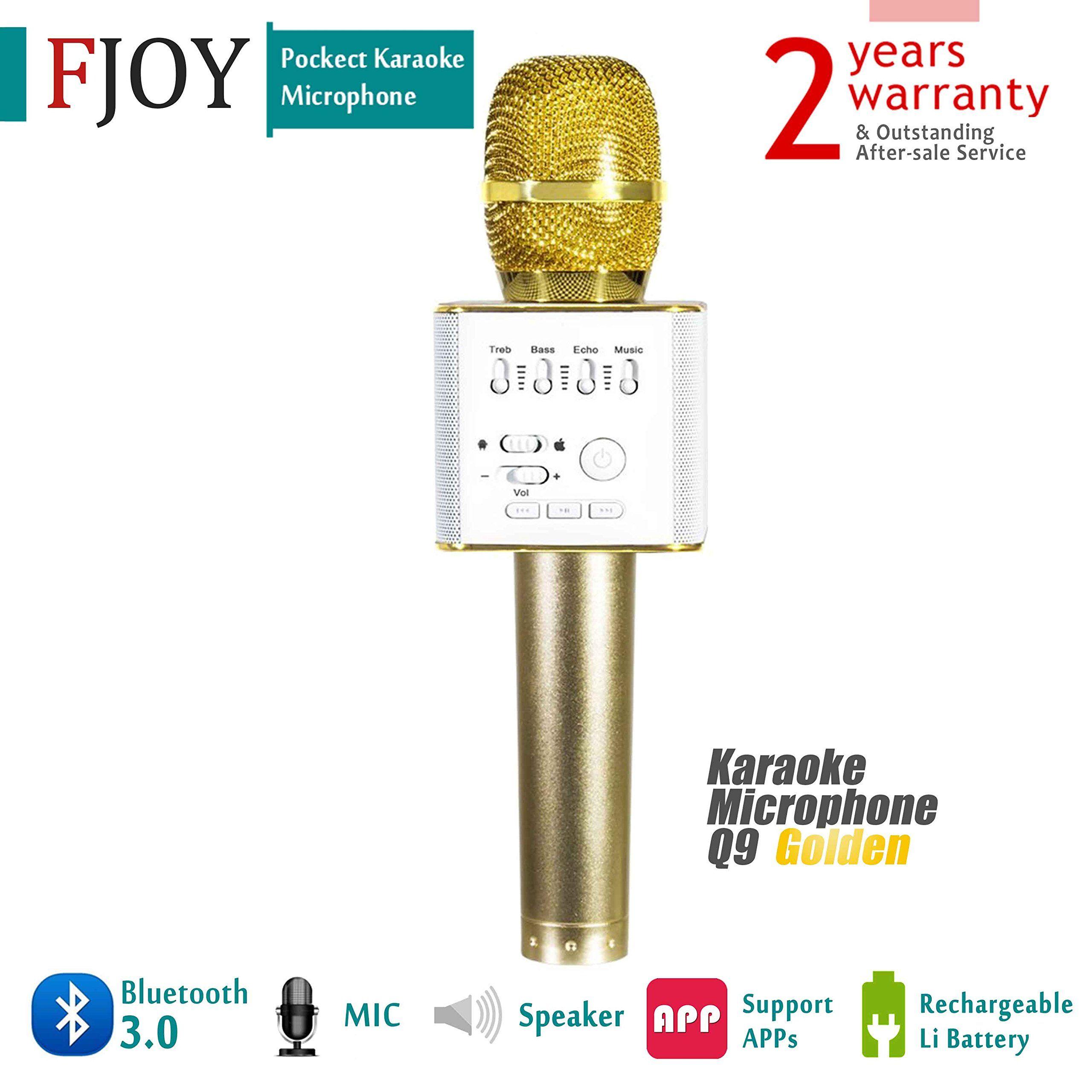 Portable Wireless Karaoke Microphone Fojny Bluetooth Handheld Q9 Mic Player Speaker Stereo For Music Playing Mini Home Ktv Apple Iphone