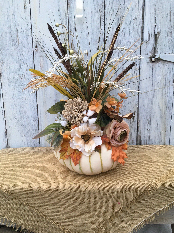 A Fall Floral Pumpkin, Autumn Pumpkin Arrangement, Thanksgiving Table Centerpiece,
