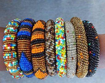 African Beaded Stretch Bracelets Tribal Beaded Bracelet | Etsy