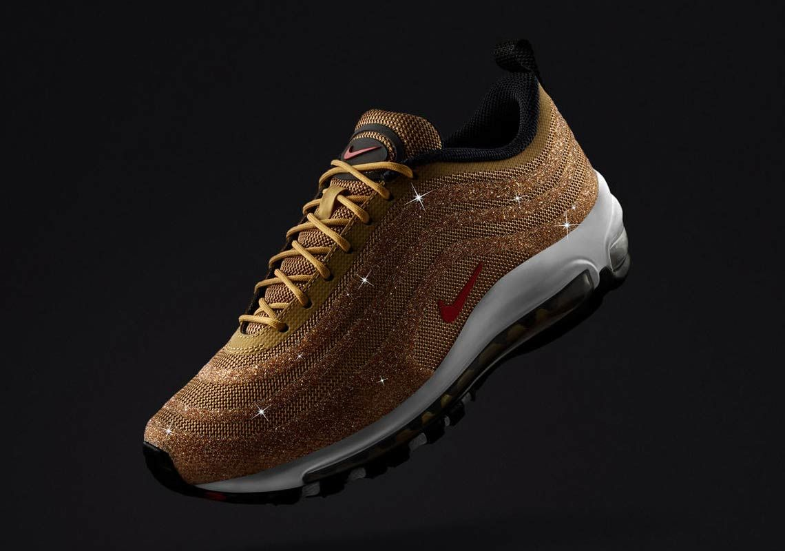 d213f53986 The Nike Air Max 97 Swarovski Releases In Metallic Gold #sneakers #nike  #airmaxkicks