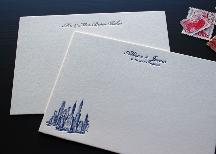 Post Wedding Thank You Notes With A Custom Letterpress Design