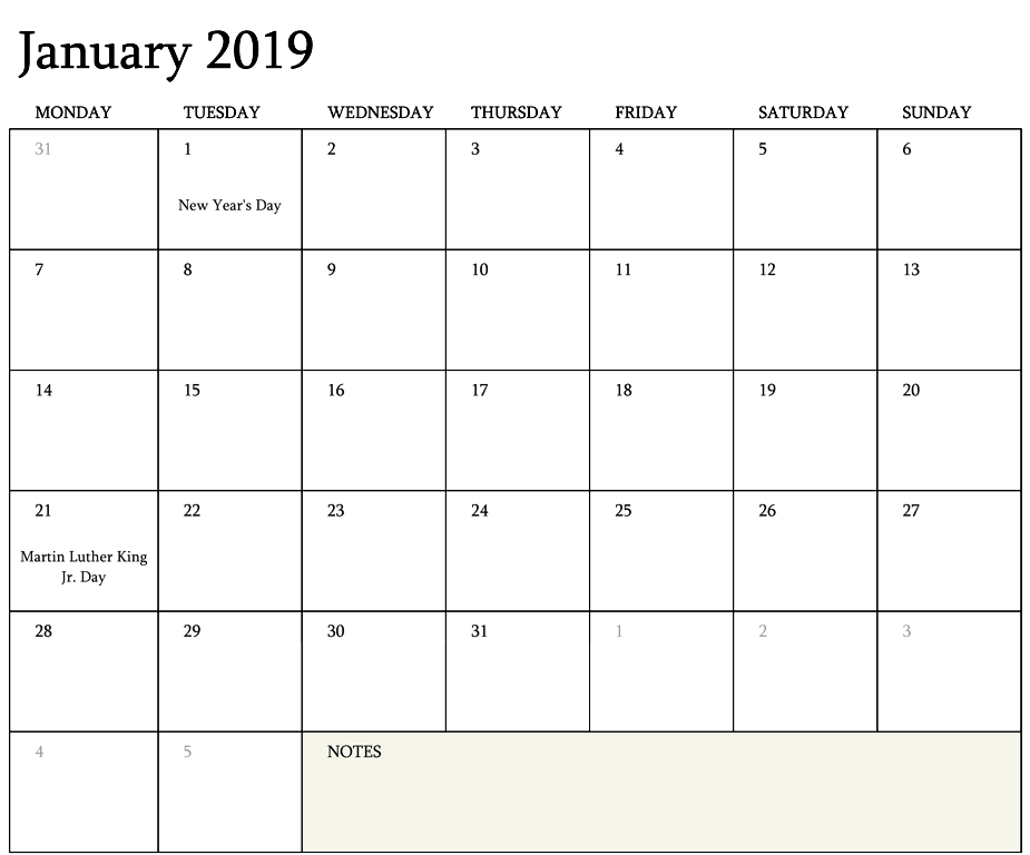 2019 Editable Calendar Templates January 2019 Calendar Editable Template | January 2019 Blank