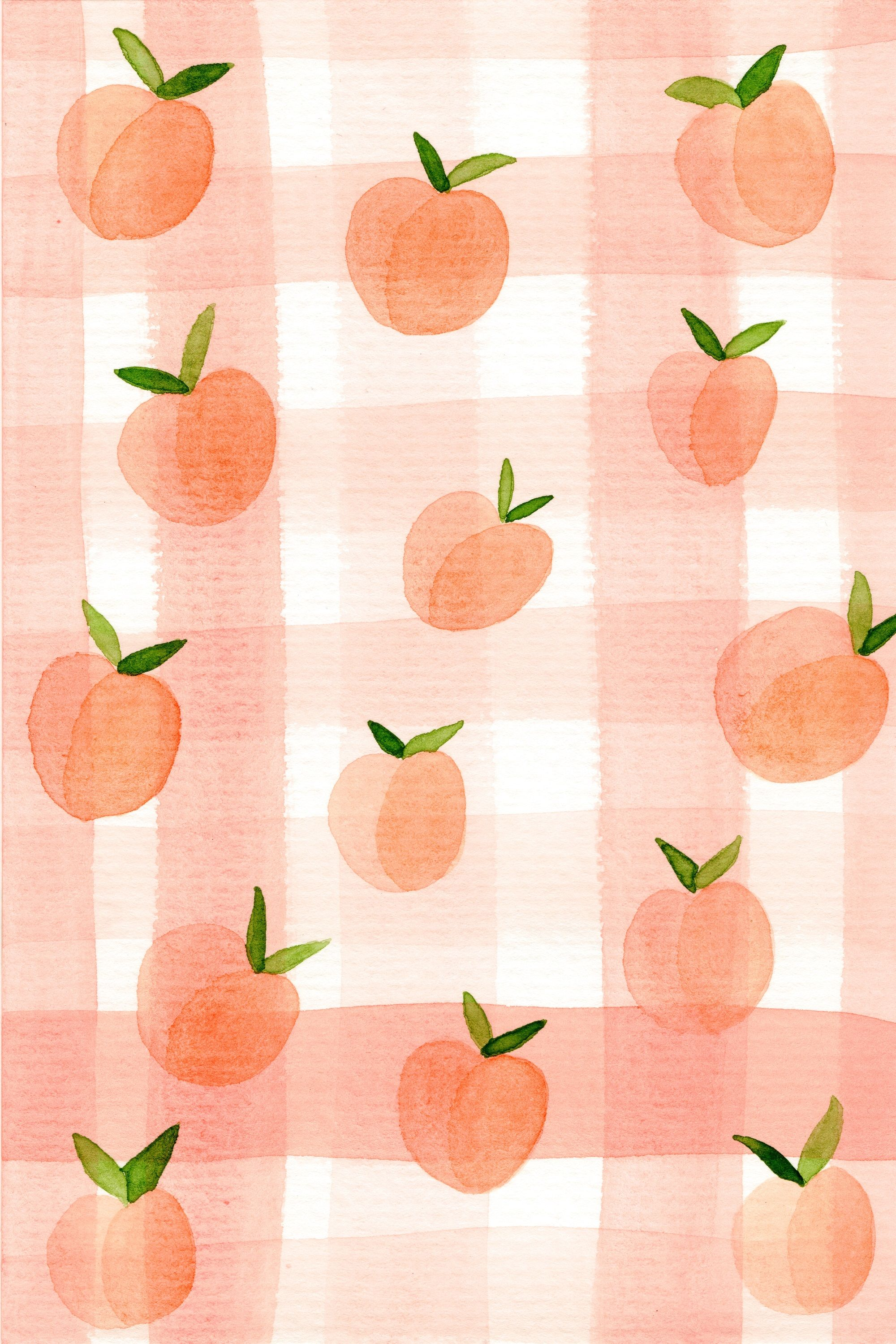 Peach Gingham Navy Leaf Co 2018 Pattern Design Designs Decor Peach Wallpaper Iphone Wallpaper Fruit Wallpaper