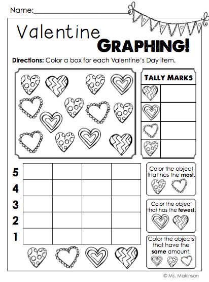 Valentine's Day NO PREP Printables for First Grade - Valentine Graphing