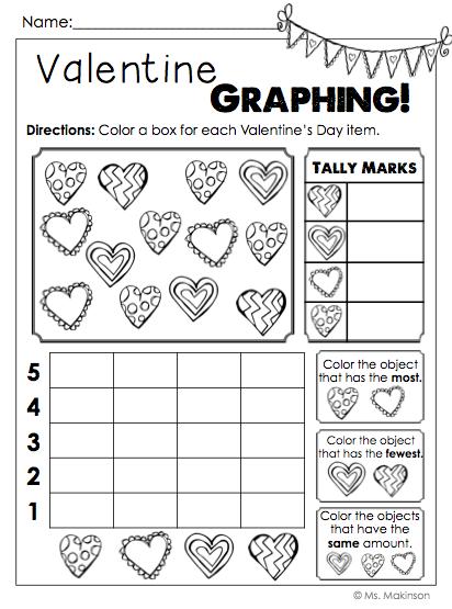 Valentine S Day No Prep Printables For First Grade Valentine Graphing Kindergarten Valentines Math Valentines Valentines School