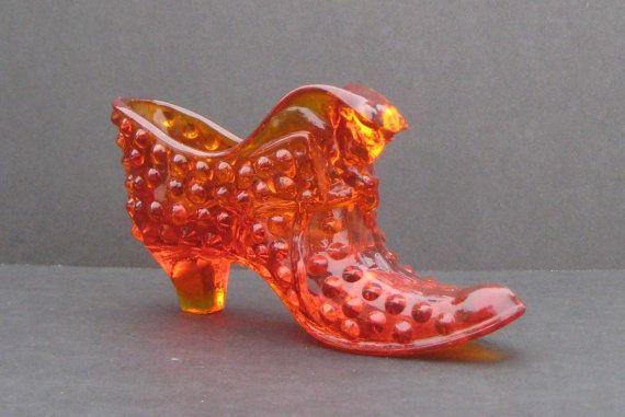 Fenton Glass Ambrina Orange Hobnail Cat Head By Alexlittlethings 28 00 Glass Shoes Fenton Glass Fenton