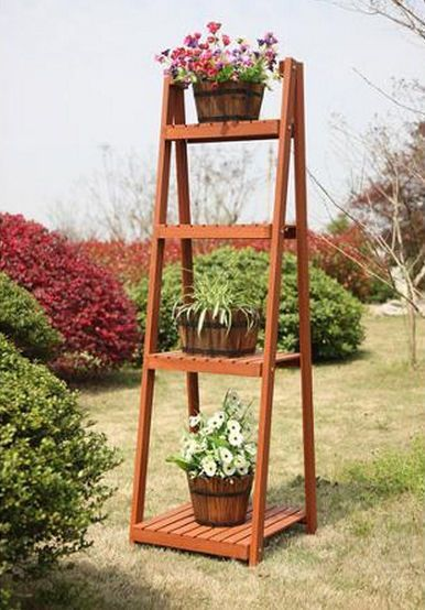 4 Tier Wood Ladder Plant Stand Slatted Indoor Outdoor Flower Herbs Garden  Shelf