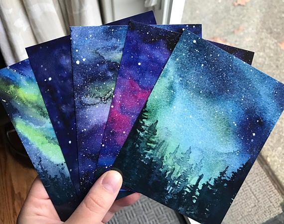 Galaxy Aquarell Postkarten Set Von 5 Nebel Kunst Aurora
