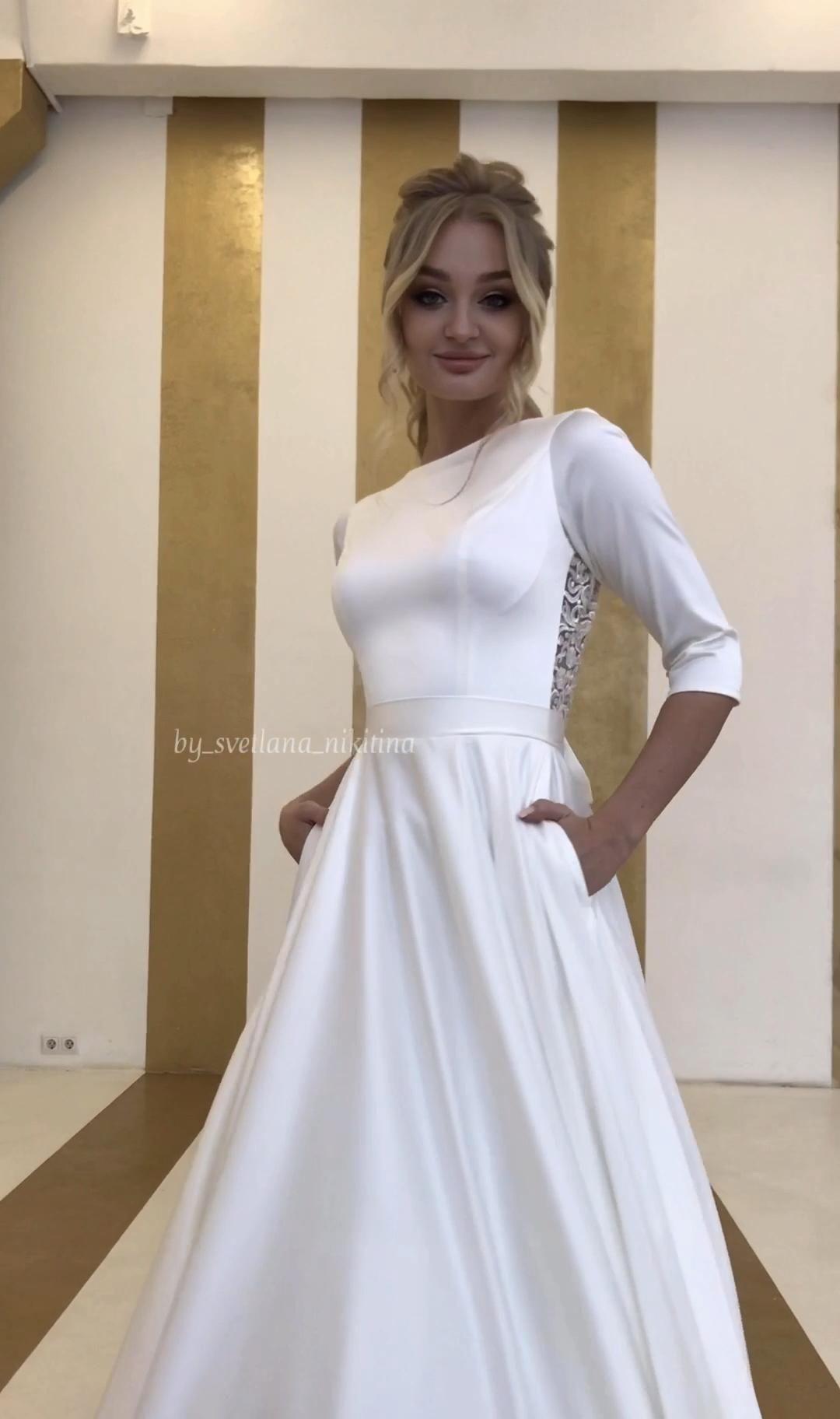 Satin open back wedding dress with a long train by Svetlana Nikitina -   19 dress Wedding casamento ideas