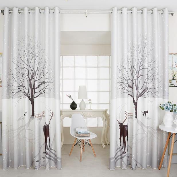 Modern Curtains Light Gray Tree And Deer Print Poly Cotton Tende