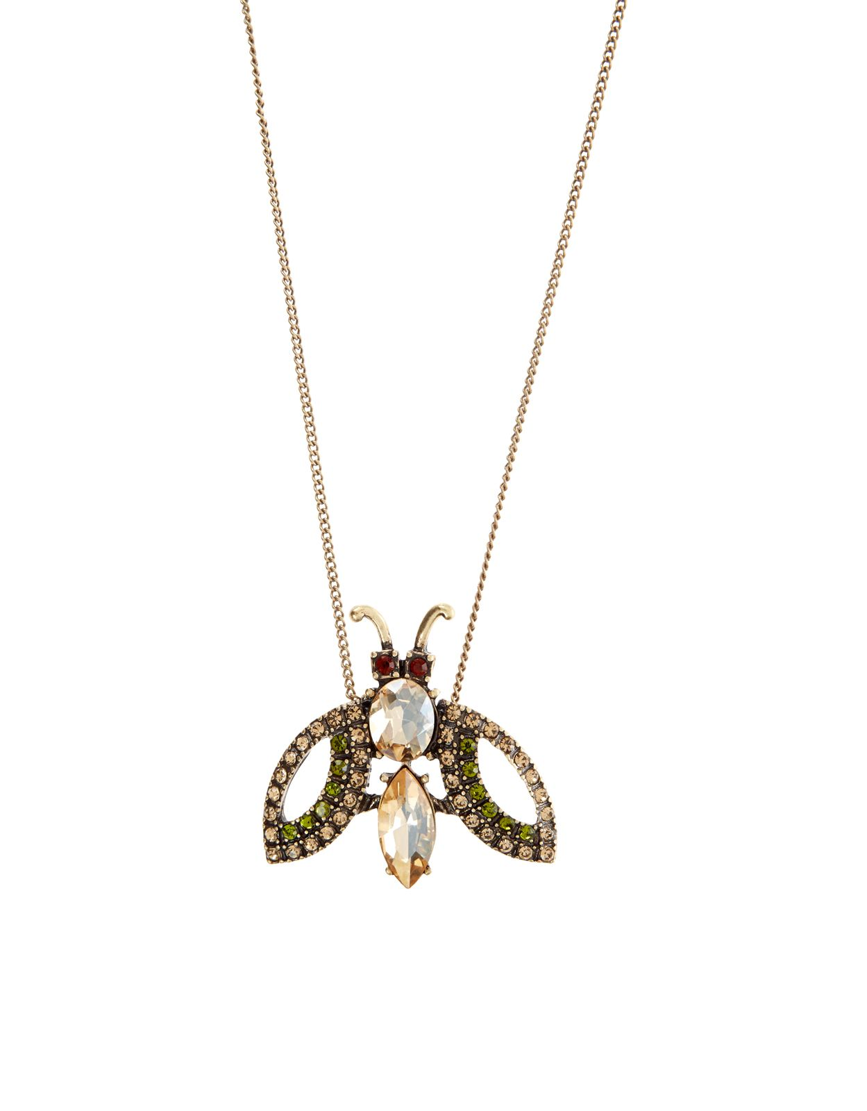 Create a buzz around your outfit with our jewelled bug necklace