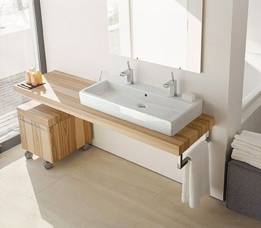 Simple Kitchen Sink Cabinet: Simple White Trough Sink With Wooden Vanity Cabinet For Minimalist Bathroom