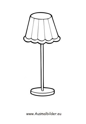 Stehlampe gezeichnet  Ausmalbilder Stehlampe | Ausmalbilder Möbel | Pinterest ...