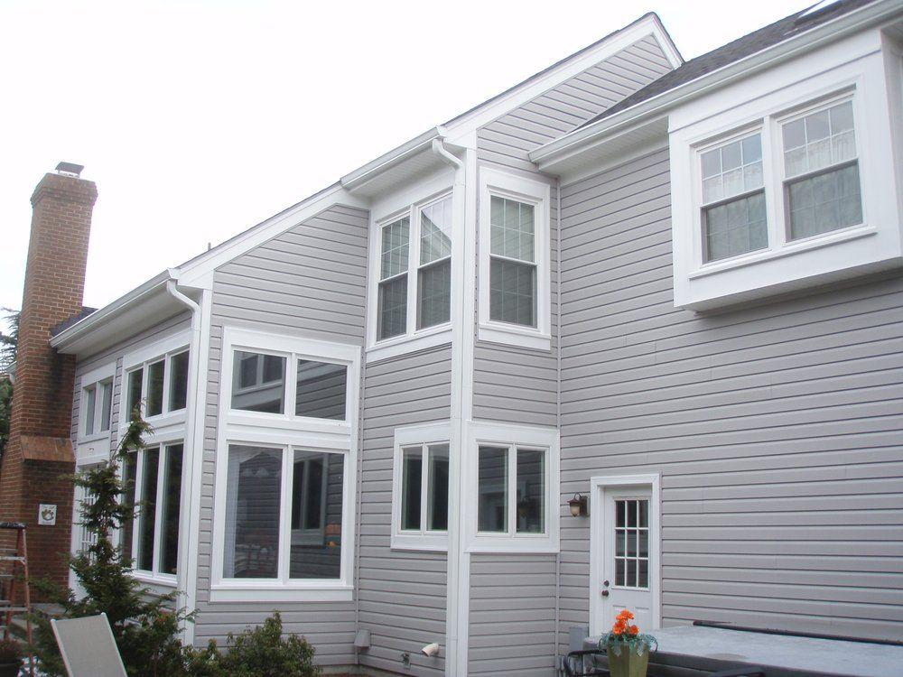 Liberty Elite Victorian Grey Siding White Aluminum Cladding Gutters Downspouts Aluminum Siding Colors Exterior House Color Grey Siding