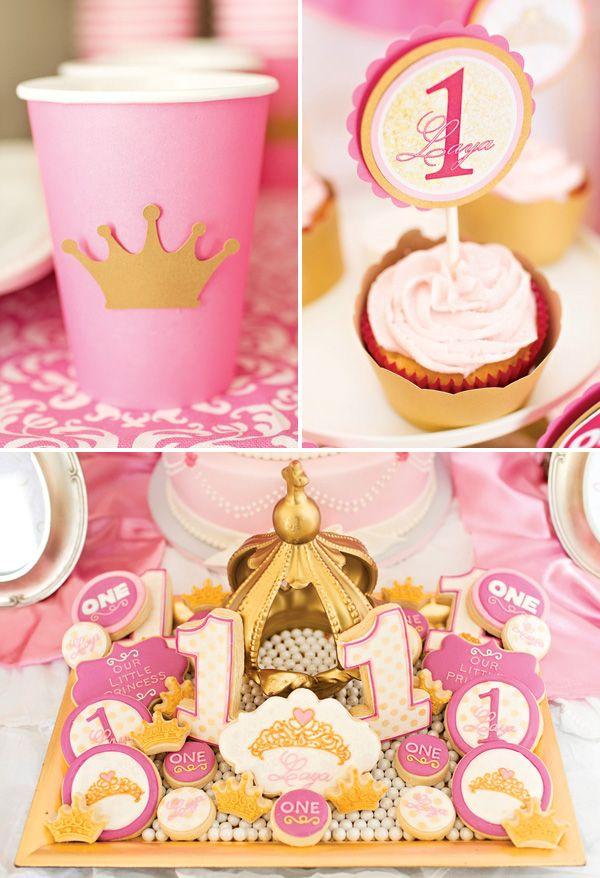 Royal Princess First Birthday Party Pink Gold Princess First