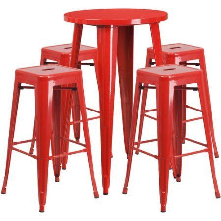 Flash Furniture 30 inch Round Metal Indoor-Outdoor Bar Table Set with 4 Square Seat Backless Barstools, Multiple Colors, Red