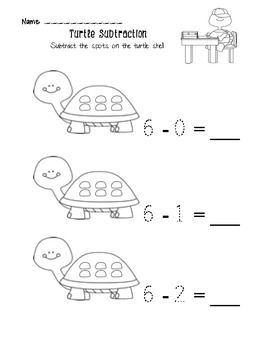 A beginning subtraction worksheet for Kindergarten.*If you ...
