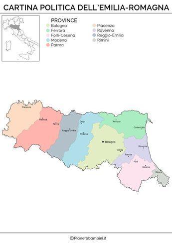 Cartina Italia Emilia Romagna.Cartina Muta Fisica E Politica Dell Emilia Romagna Da