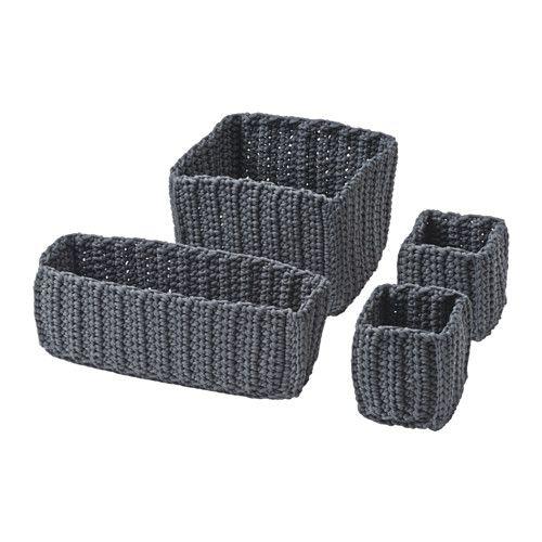 IKEA - NORDRANA, Kôš, 4 ks, , Každý kôš je originál, pretože je ručne vyrobený.
