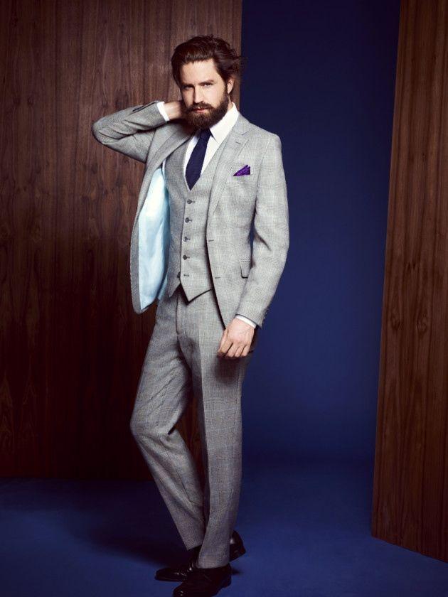 Winter Fashion Partywear Suit 3piece Beard Man Style