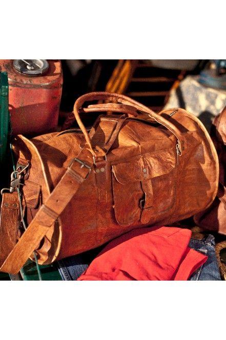 9096fad791 Men s Rugged Vintage Camel Leather Duffle Gym Bag by Buffalo Jackson  Trading Co - Duffle