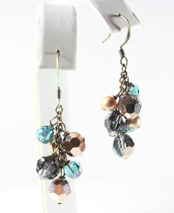Rose gold teal vintage gold mini chandelier earrings by bonitaj rose gold teal vintage gold mini chandelier earrings by bonitaj mozeypictures Image collections