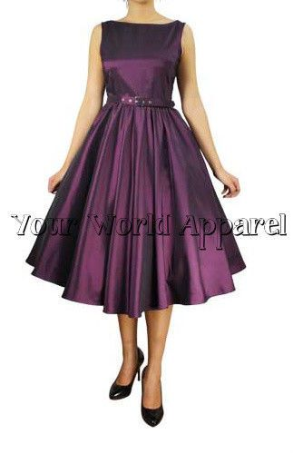 5fc638a80e1 Audrey Hepburn Style Eggplant Rockabilly Swing Pinup Prom Retro Satin Dress