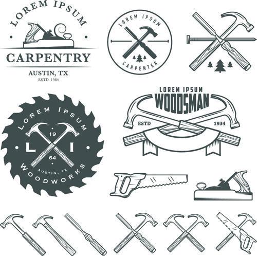 Retro labels and emblems set vector material 04