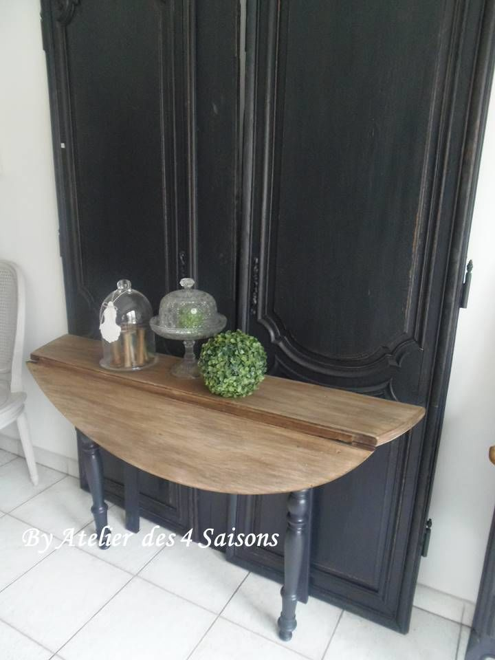 Console ,table patiné gris ardoise plateau en noyer ...