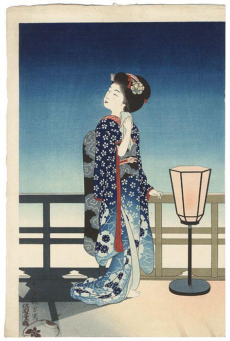 Maiko Admiring the Moon, 1924 by Yoshikawa Kanpo (1894 - 1979)