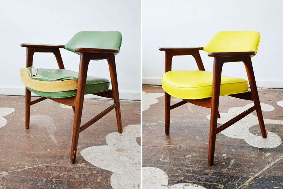 a summery redo on our client s danish modern chair the textile is a