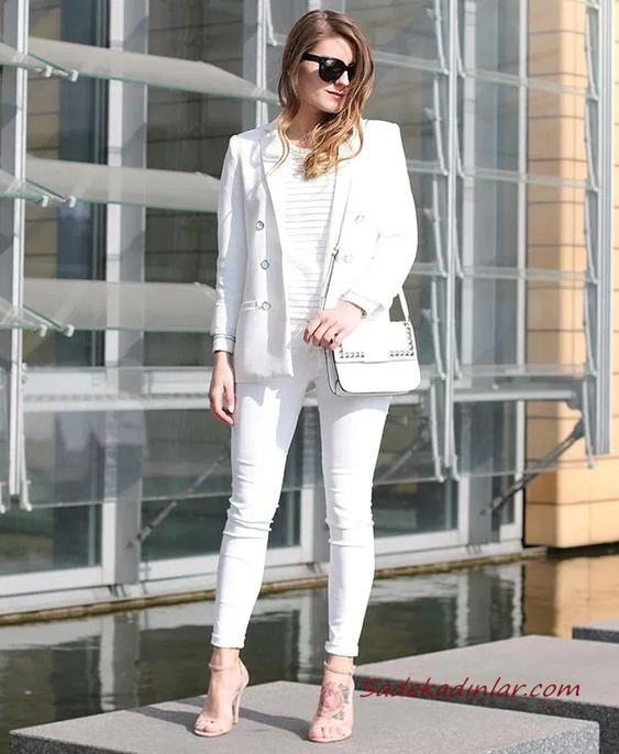 2020 Beyaz Pantolon Kombinleri Beyaz Dar Pantolon Bluz Uzun Ceket Vizon Stiletto Ayakkabi Goruntuler Ile Moda Stilleri Moda Rahat Kiyafetler