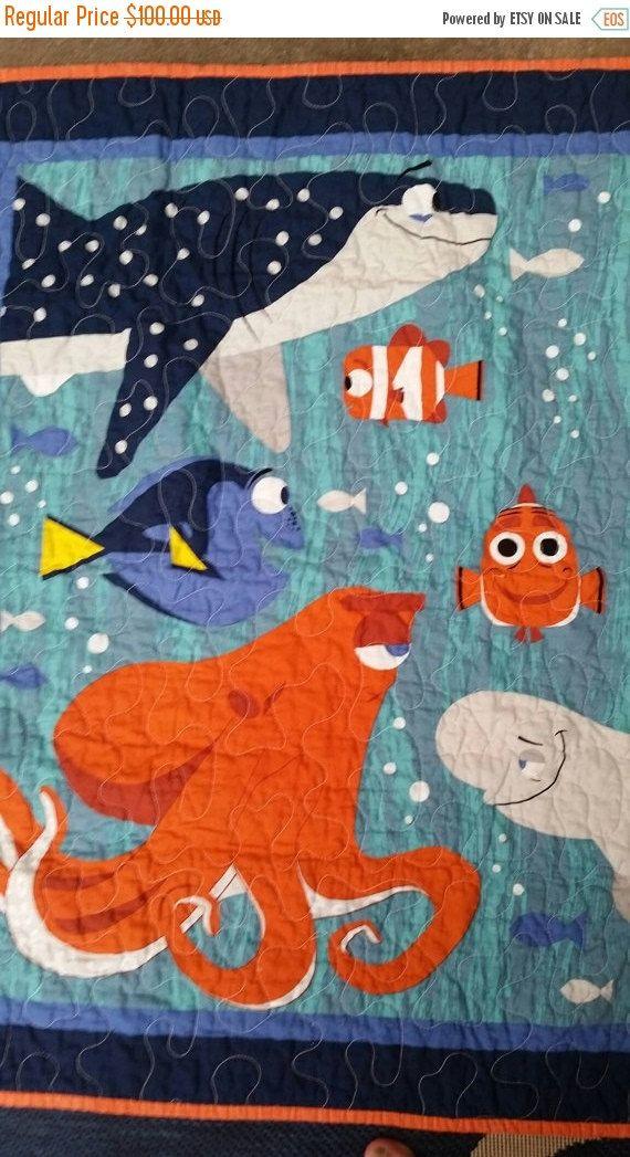 Finding Dory Crib Quilt, Finding Nemo Crib Quilt, Fish, Beach Crib ... : nemo quilt - Adamdwight.com