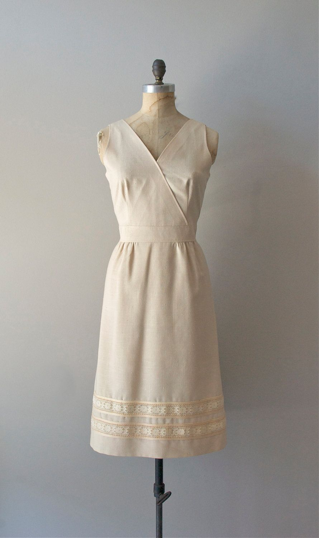 70s Dress Ecru Linen 70s Dress Summer Dresses Fashion [ 1500 x 890 Pixel ]
