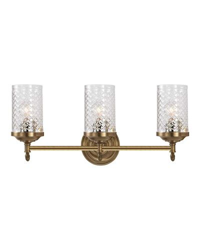 HHJ Visual Comfort Lita Brass Triple Sconce Home Accessories - Antique brass bathroom sconces