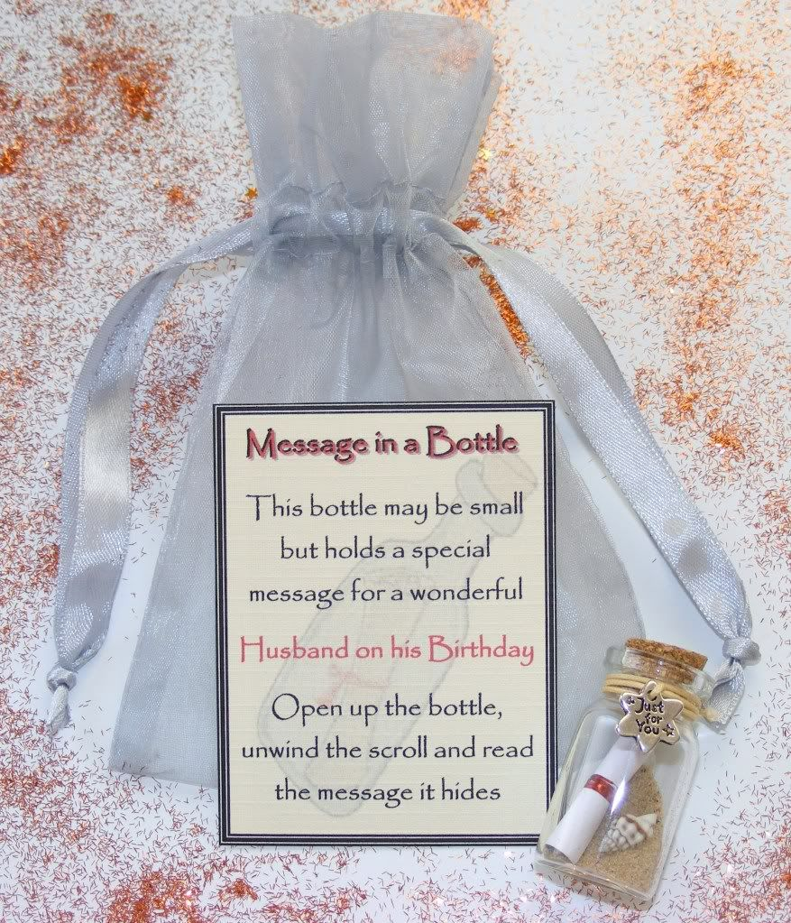 Personalised Husband Birthday Message Bottle Gift Card