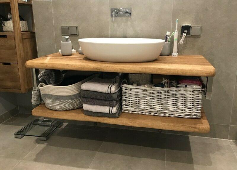 Waschtischplatte Waschtisch Badezimmer Holzplatte Eiche Massiv Geolt Baumkante Ebay In 2020 Waschtisch Holz Badezimmer Waschtischplatte Waschtischkonsole