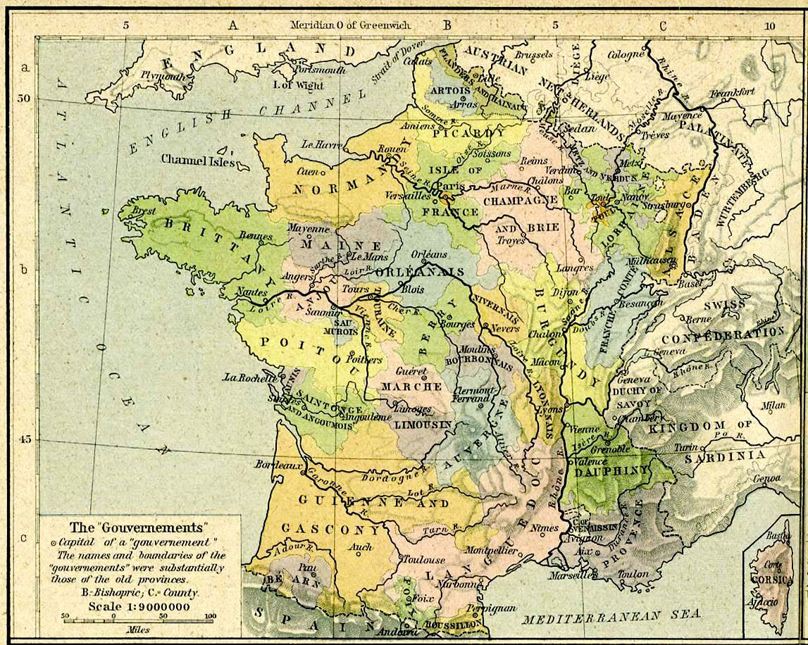 carte de france 1789