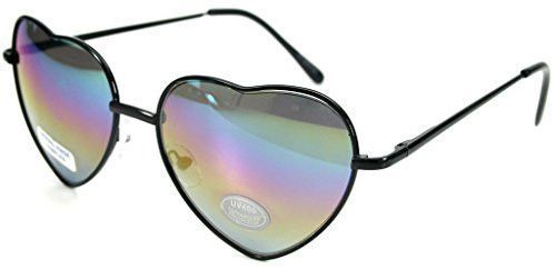 """""""D'Amore"""" Women's Designer Heart-Shaped Sunglasses with Mirror Lens"""