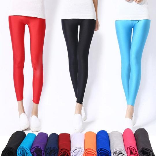 Women Candy Fluorescent Stretchy Disco Shiny Wet Look Slim Leggings Dance Pants