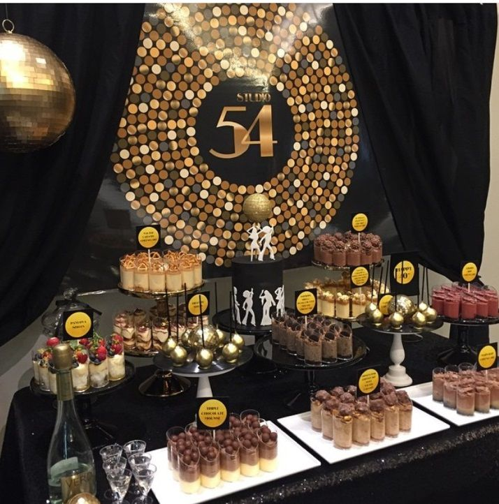 Studio 54 themed dessert table styling by for Decoration 70s party