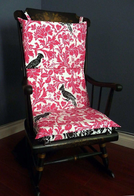 Rocking Chair Cushion Pretty Pink Black Bird. 120.00